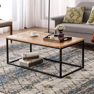 Easy Assembly Modern Industrial Tea Table Cocktail Table for Living Room with Chevron Pattern & Metal Frame (Oak)