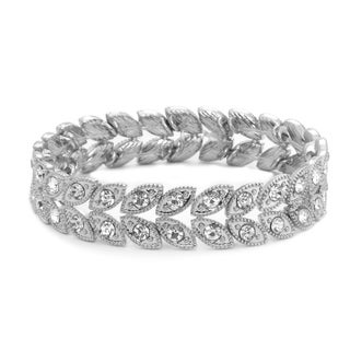 Women Silver Tone Round Crystal Double Row Adjustable Bracelet