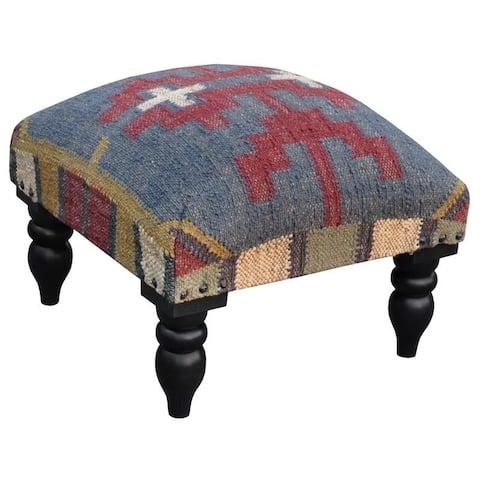 "Handmade Kilim Ottoman Footstool (India) - 15"" x 15"" x 12"""