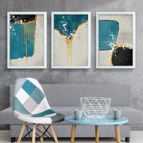 Harmony-3 Piece Picture Print Set On Canvas, Pictures Only