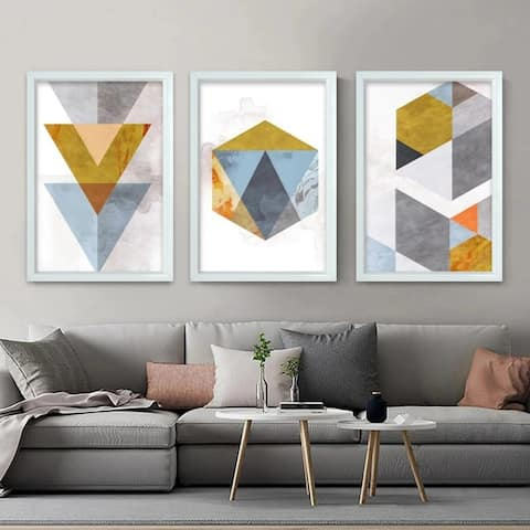 Geometrical-3 Piece Picture Print Set On Canvas, Pictures Only
