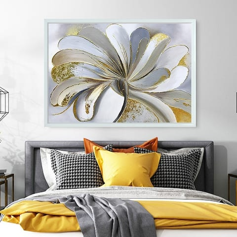 Golden Flower-Picture Framed Hand Painted On Canvas, Painting Only