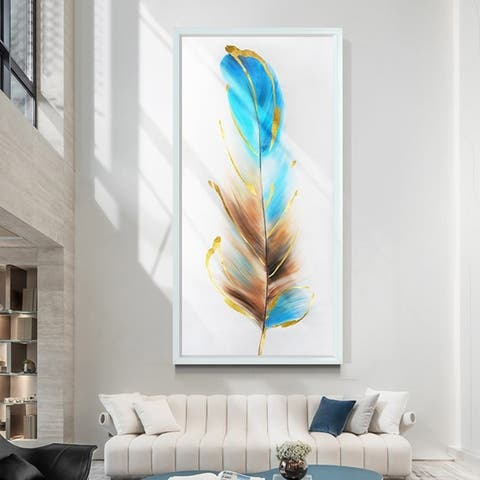 Rainbow Feather-Picture Hand Painted On Canvas