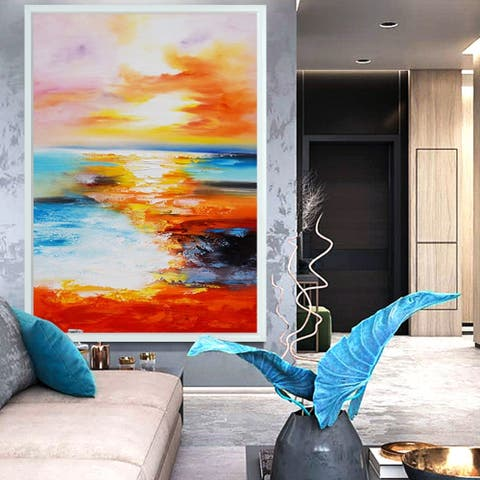 Sunset-Picture Hand Painted On Canvas, Painting Only