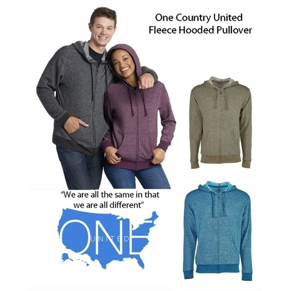 One Country United Unisex Denim Fleece Zip Hoodie
