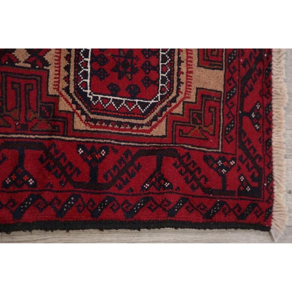 Red Afghan Balouch Area Rug Oriental