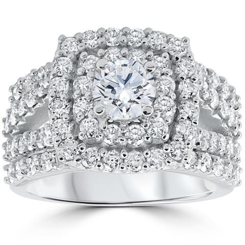 EX3 10k White Gold 3 Ct Diamond Cushion Halo Engagement Wedding Ring Set Lab Grown (G-H/SI1)