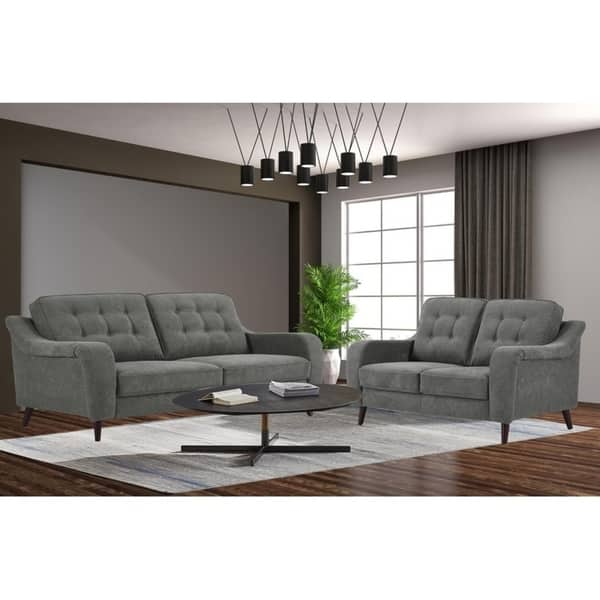Mid Century Hamilton Upholstery Fabric Living Room Sofa Set In Gray Overstock 30593806