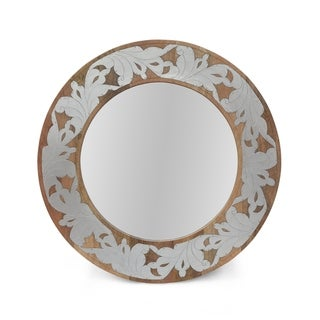 "Mercer Mango Wood Aluminum Fitted Round Mirror by Christopher Knight Home - 1.00"" D x 22.50"" W x 22.50"" H"