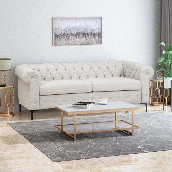 """Bannock Tufted Fabric 3-seater Sofa by Christopher Knight Home - 32.75"""" D x 82.00"""" W x 28.75"""" H. Opens flyout."""