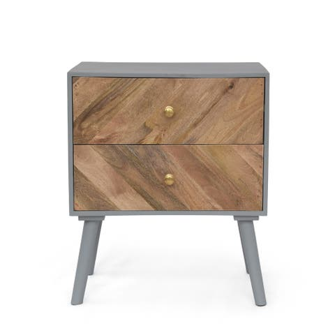"""Aldape Mango Wood 2 Drawer Cabinet by Christopher Knight Home - 20.00"""" W x 13.00"""" D x 24.00"""" H"""