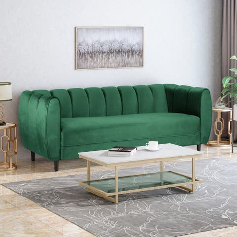 "Bobran Modern Velvet 3 Seater Sofa by Christopher Knight Home - 30.00"" D x 83.25"" W x 30.25"" H"