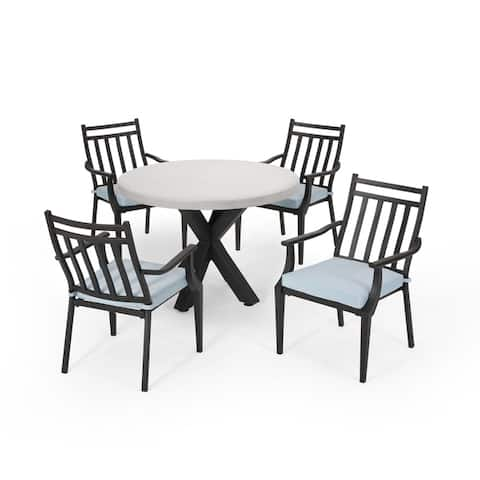 Delmar Outdoor 5 Piece Dining Set with Light Weight Concrete Table by Christopher Knight Home
