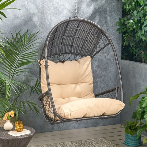 Malia Outdoor/Indoor Wicker Hanging Chair with Cushion (Stand Not Included) by Christopher Knight Home