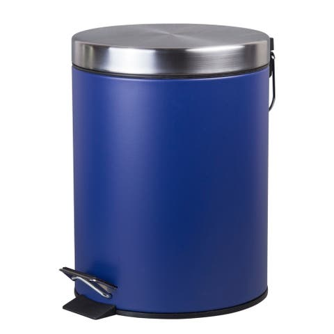 Creative Home 5 Liter Stainless Steel Round Shaped Step Trash Can, Navy