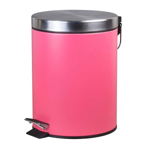 Creative Home 5 Liter Stainless Steel Round Shaped Step Trash Can, Pink