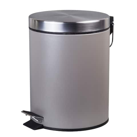 Creative Home 5 Liter Stainless Steel Round Shaped Step Trash Can, Silver