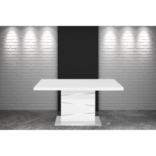 Link to Modern White Glossy Dining Table with Stainless Steel Base - N/A Similar Items in Dining Room & Bar Furniture