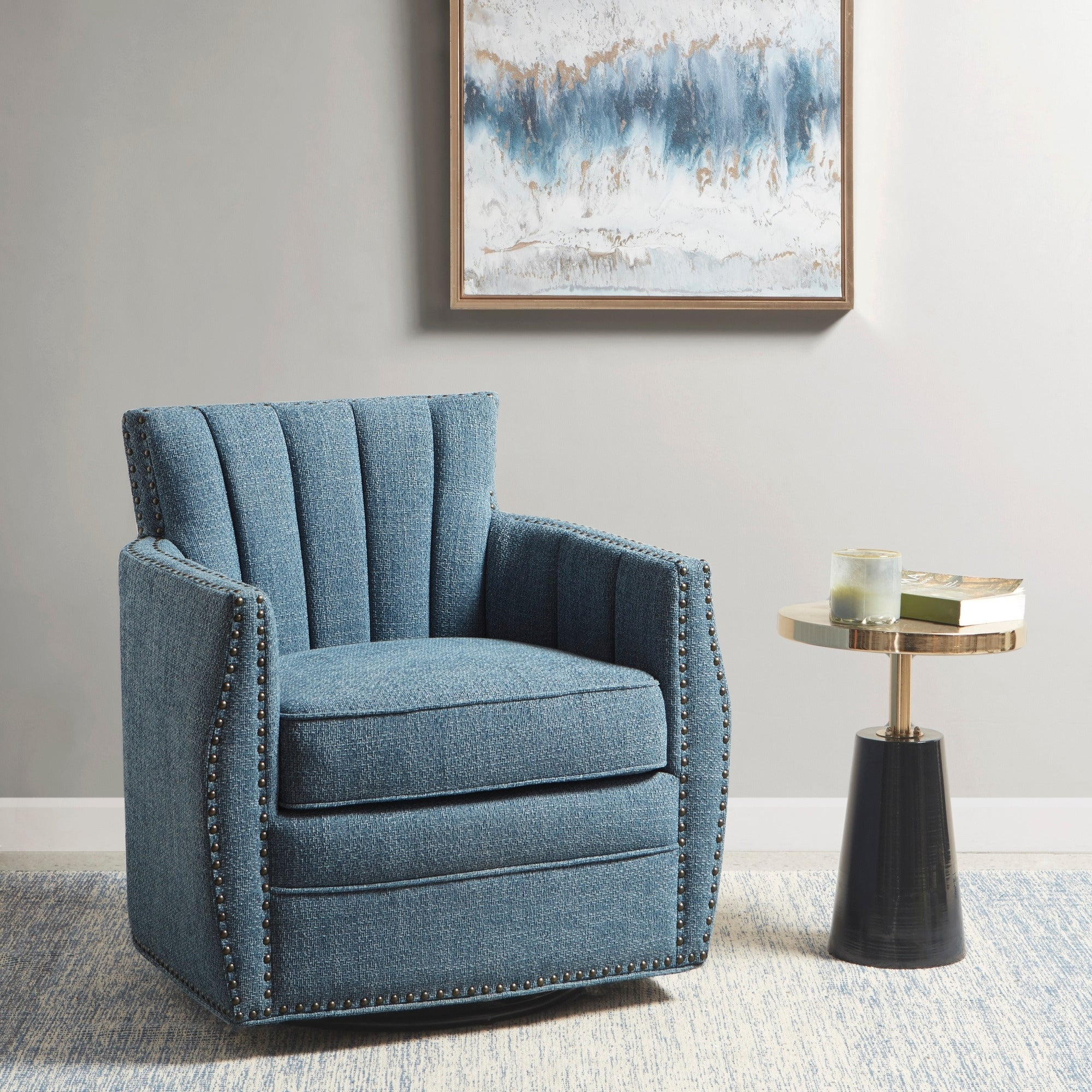 Shop Madison Park Paloma Blue Swivel Glider Chair Overstock 30593998