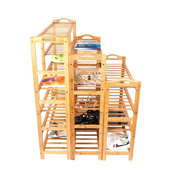 6-layer Portable Bamboo Splint Multi-function Shoe Rack Wood Color