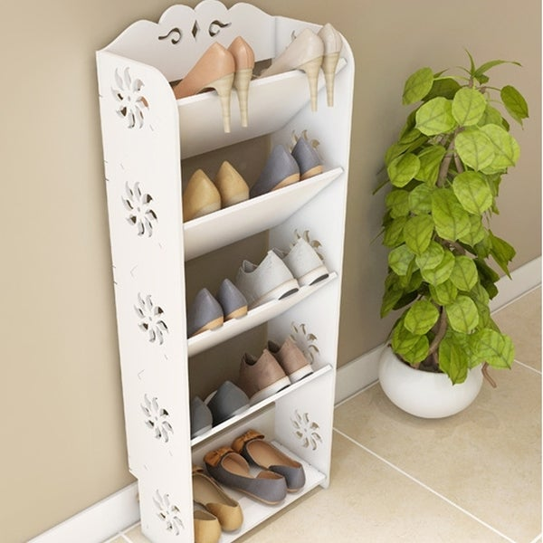 Wood-plastic Board Four Tiers Bevel Carved Shoe Rack White