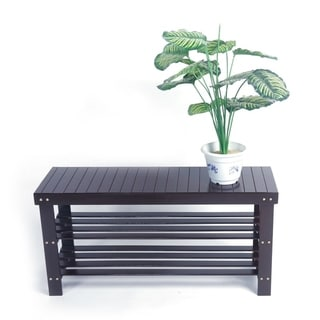 90cm Strip Pattern 3 Tiers Bamboo Stool Shoe Rack Coffee
