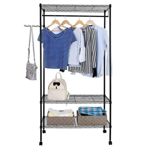 3-Tier Closet Organizer Metal Garment Rack Portable Clothes Hanger