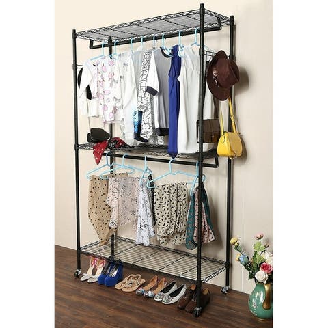 Adjustable Garment Rack with 2 Tier Metal Shelf