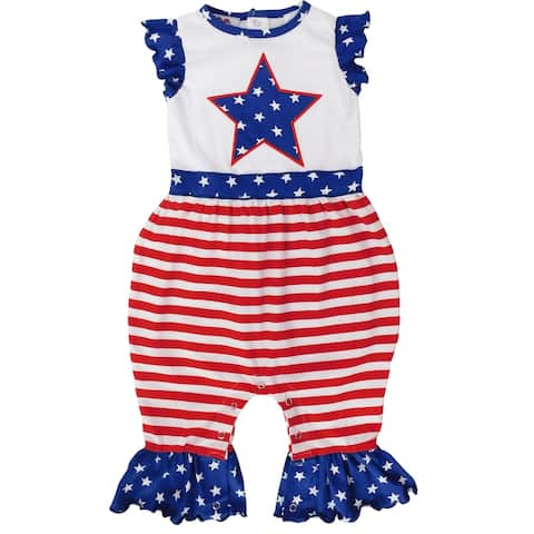 AnnLoren Fourth of July America Flag Star Baby Girls' Romper Holiday Jumpsuit