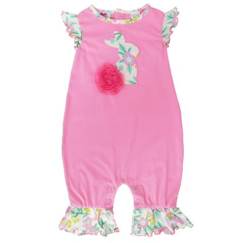 AnnLoren Pink Easter Bunny Baby Girls' Romper Floral Ruffles Holiday Outfit Playsuit