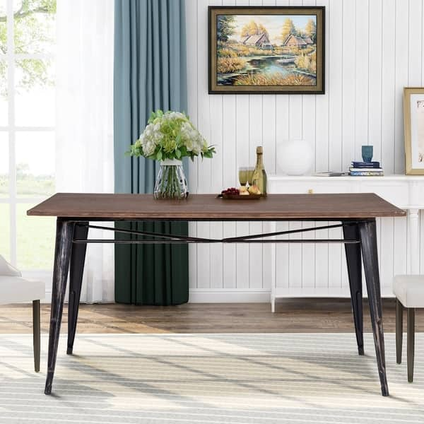 Shop Antique Style Rectangular Dining Table With Metal Legs Distressed Black On Sale Overstock 30594063