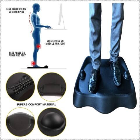 Direct Wicker Sokiss Not-Flat Standing Desk Anti-Fatigue Mat with 2 Massage Balls, Obsidian Black