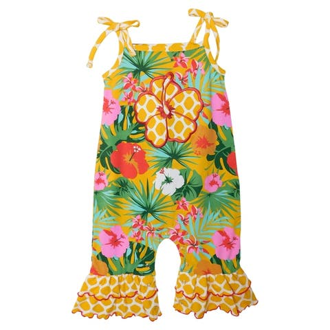AnnLoren Hawaiian Hibiscus Floral Baby Girls' Romper Toddler Tropical Jumpsuit