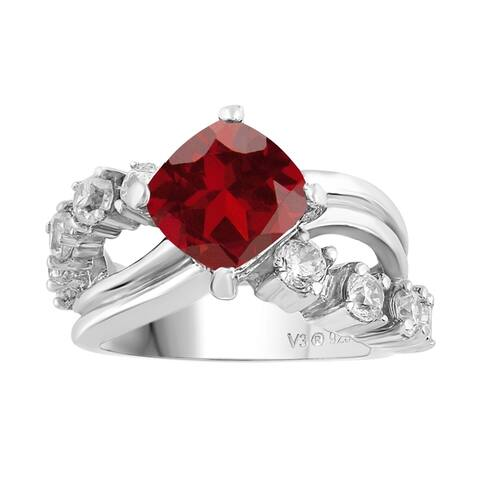 Sterling Silver with Natural Garnet and White Topaz Halo Ring