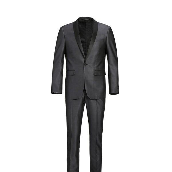 Mens Sharkskin Shawl Lapel Slim Fit Tuxedo Suit