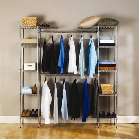 Custom Closet Organizer Shelves System Kit Expandable Clothes Storage