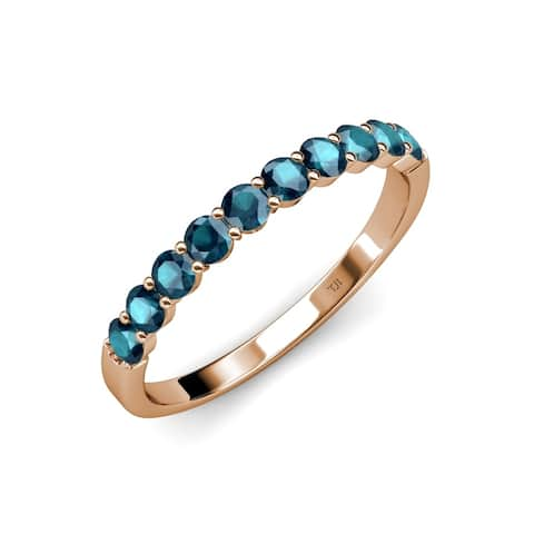 Trijewels London Blue Topaz 1 ctw 10 Stone Wedding Band 14KR Gold
