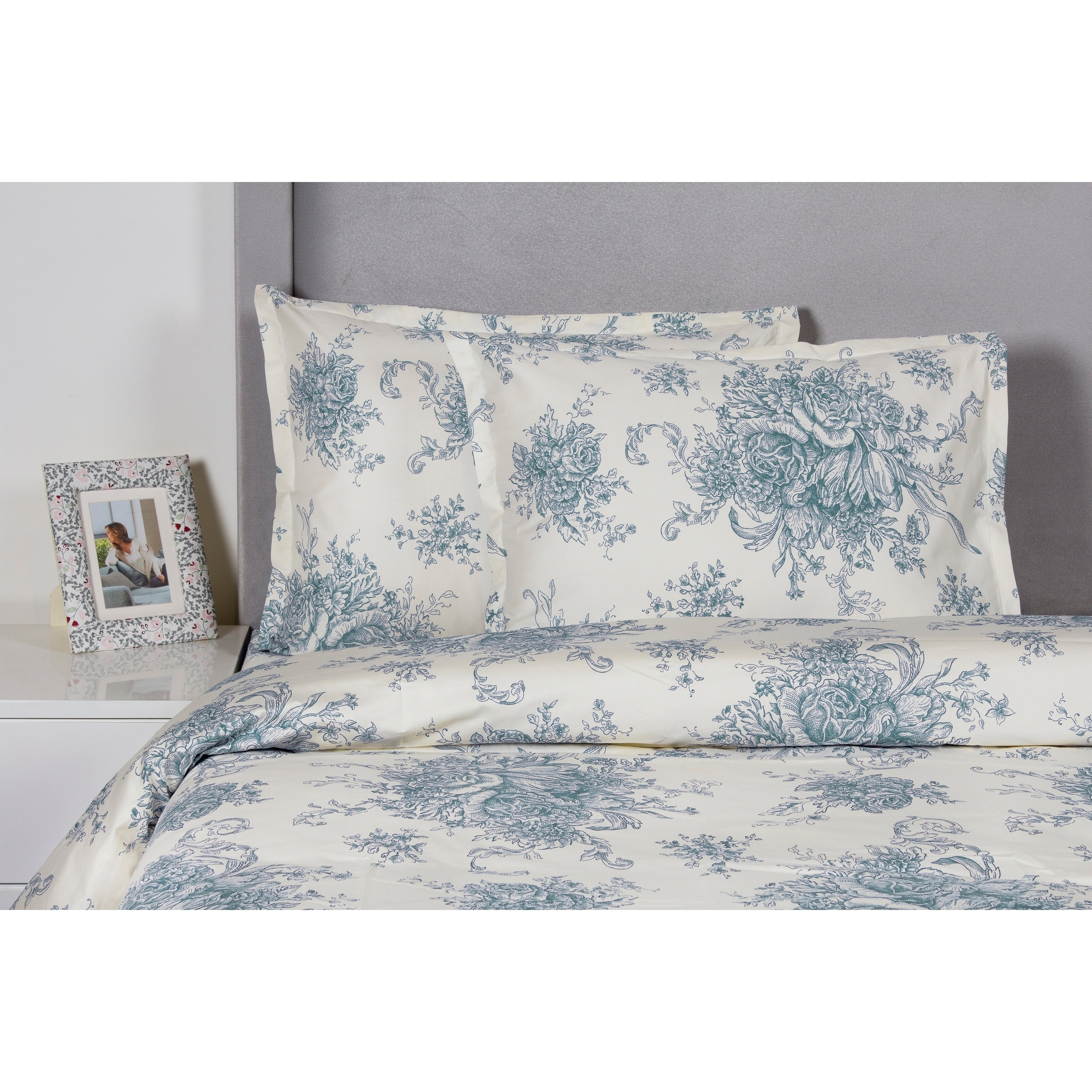 Printed Design Cotton Collection 400 Thread Count Light Blue Toile Duvet Set Overstock 30595405