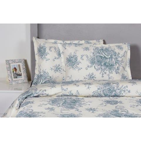 Printed Design Cotton Collection 400 Thread Count Light Blue Toile Duvet Set