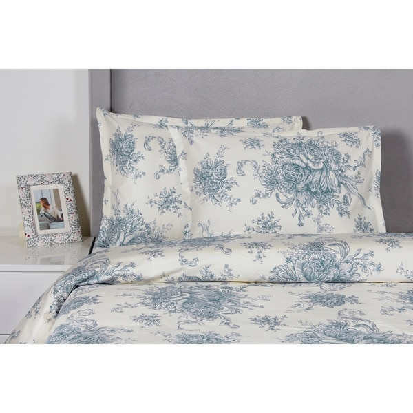 Printed Design Cotton Collection 400 Thread Count Light Blue Toile Duvet Set. Opens flyout.