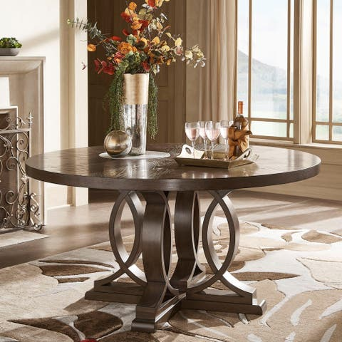"Sullivan Dark Walnut Finish 60"" Round Dinning Table by iNSPIRE Q Classic - Table Only"
