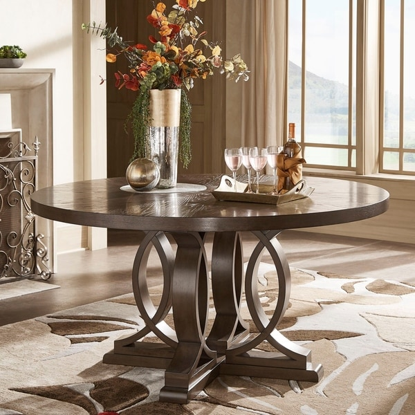 """Sullivan Dark Walnut Finish 60"""" Round Dinning Table by iNSPIRE Q Classic - Table Only. Opens flyout."""