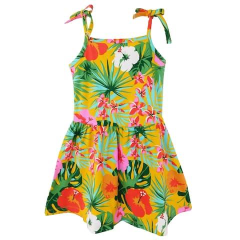 AnnLoren Big Girls' Hawaiian Hibiscus Floral Tropical Kids Swing Dress Summer Children's Wear