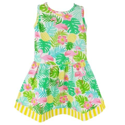 AnnLoren Big Girls' Pink Flamingo Palm Tree Kids Swing Tropical Dress Spring Summer