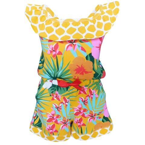 AnnLoren Big Girls' Hawaiian Hibiscus Floral Tropical Kids Spring Summer Shorts Jumpsuit One Piece