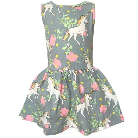 AnnLoren Big Girls' Magical Unicorns Rainbows Boutique Sleeveless Dress Party Outfit