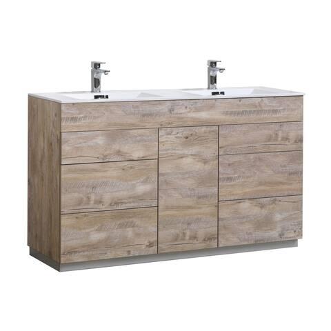 """Milano 60"""" Double Sink Nature Wood Floor Mount Modern Bathroom Vanity"""