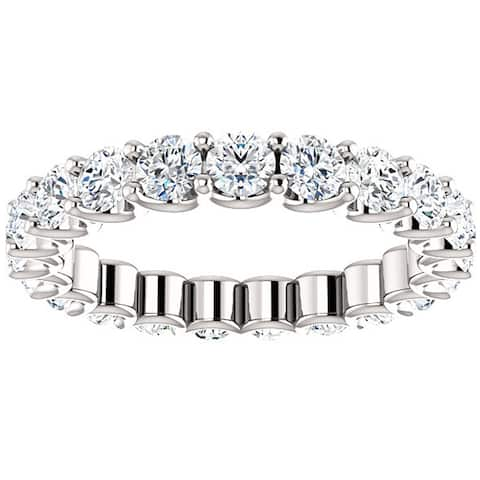 2 Ct Moissanite Eternity Ring Womens Wedding Band 14k White Gold