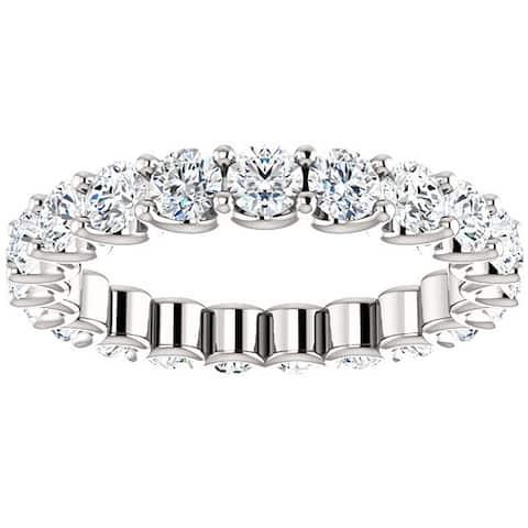 2 Ct Moissanite Eternity Ring Womens Wedding Band 14k White Gold