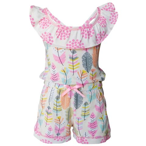 AnnLoren Big Girls' Pink Feather & Polka Dots Shorts Jumpsuit Spring Summer One Piece Outfit